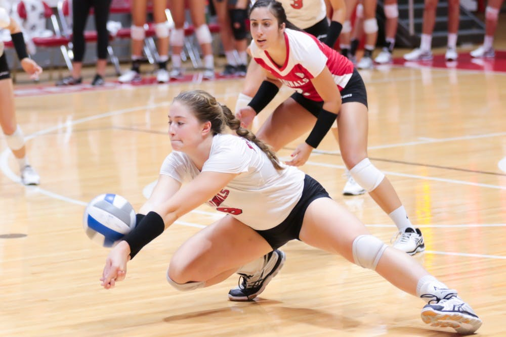 <p>Junior outside hitter Sabrina Mangapora goes for a low hit at the game against Ohio State on Sept. 17 at John E. Worthen Arena. Ball State takes on Navy (3-0) in the first match of the Ball State Tournament on Friday. Kyle Crawford, DN File</p>