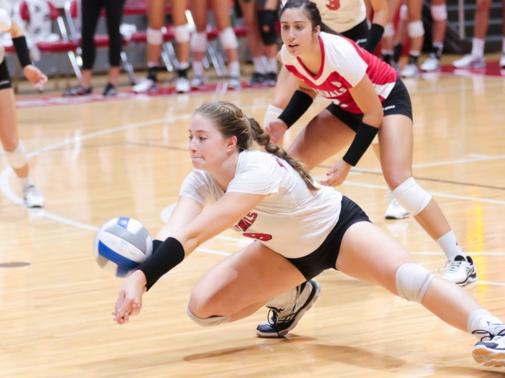 Junior outside hitter Sabrina Mangapora goes for a low hit at the game against Ohio State on Sept. 17 at John E. Worthen Arena. Ball State takes on Navy (3-0) in the first match of the Ball State Tournament on Friday. Kyle Crawford, DN File