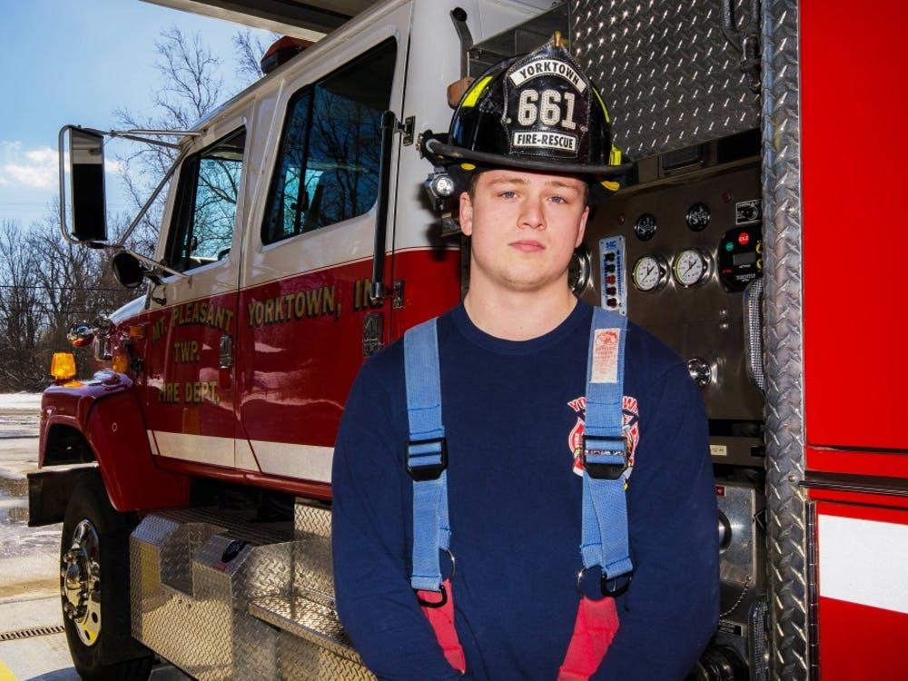 Matthew Pinter, a senior criminal justice major volunteers at the YorkTown Fire Department as a firefighter and an emergency medical technician. Stephanie Amador // DN