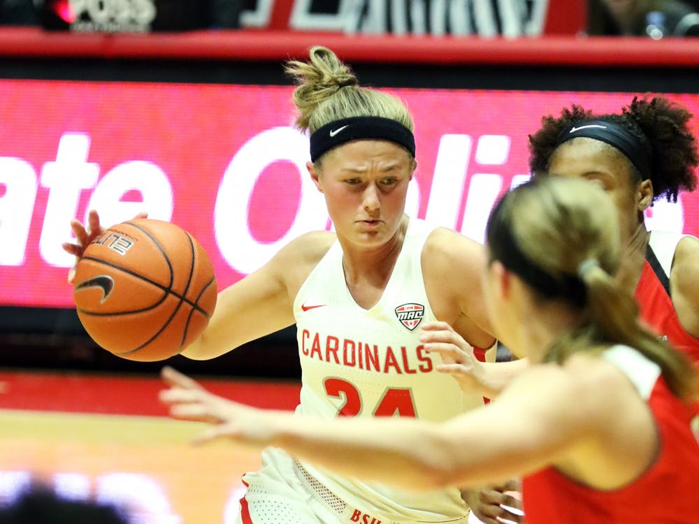 Ball State graduate guard Jasmin Samz drives the ball in during the Cardinals' game against Western Kentucky Dec. 7, 2019, at John E. Worthen Arena. Samz scored 13 points. Paige Grider, DN