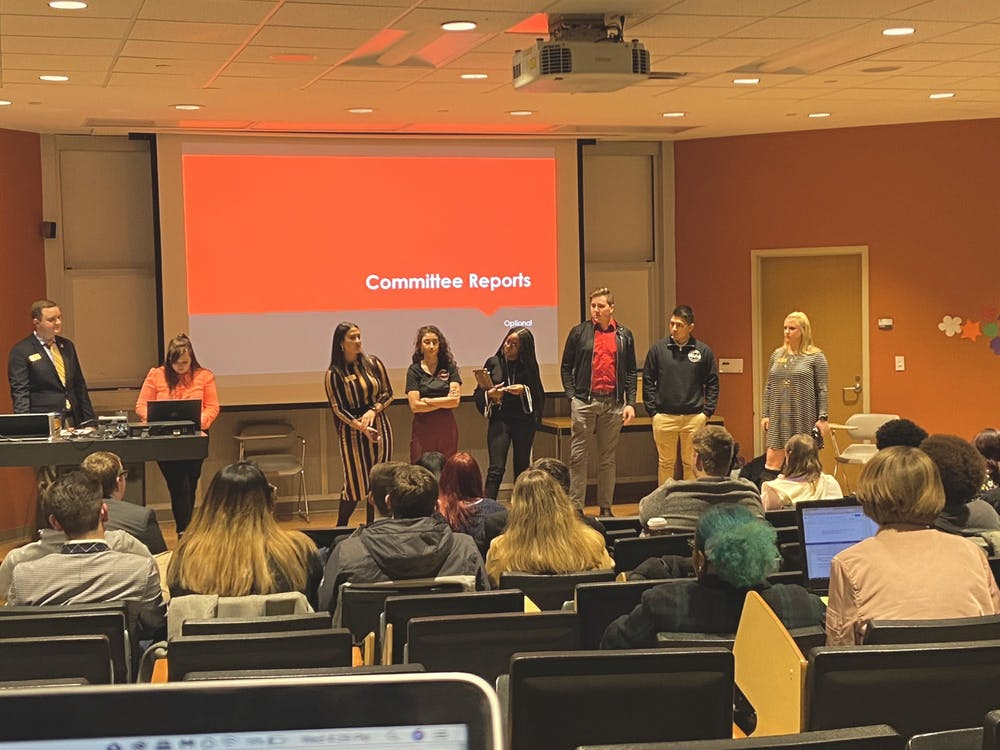 """Committee chairs in Student Government Association discuss leadership changes and goals for the new semester Jan. 15, 2020, at the Teachers College. The senate also discussed its """"Zero-Tolerance Policy"""" resolution which will be reviewed by the University Senate. Grace McCormick, DN"""