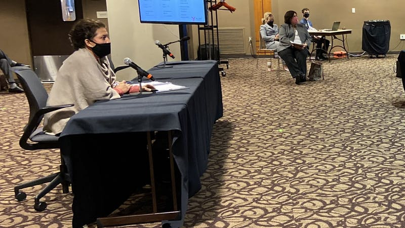 Provost Susana Rivera-Mills proposes to alter the spring 2021 semester calendar at the Board of Trustees meeting Sept. 18, 2020. The board voted to pass the resolution, which will eliminate spring break and delay in-person instruction until at least Jan. 19. Grace McCormick, DN