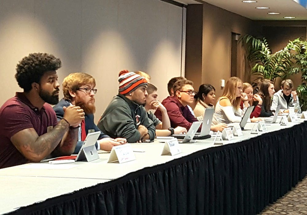 <p>Student Government Association senators meet for student senate in the L.A. Pittenger Student Center in Cardinal Hall B. <strong>Sara Barker, DN</strong></p>
