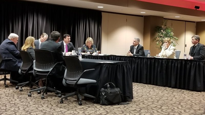 The Ball State Board of Trustees met Friday, Jan. 26, for a biannual meeting to vote on different positions of the board. The board unanimously voted to keep the current chair, Rick Hall, for a third term. Brynn Mechem, DN Photo