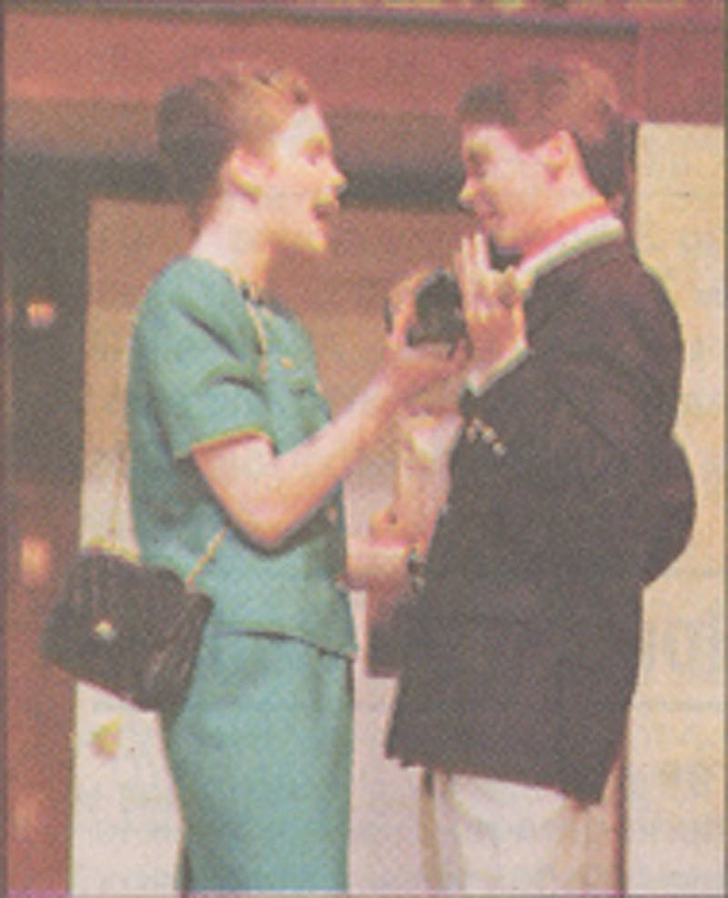 "Scott Halberstadt played Fredrick Fellows in Ball State's 1999 production of ""Noises Off."" This photo was published in the April 7, 1999, issue of The Daily News. Ball State Digital Media Repository"