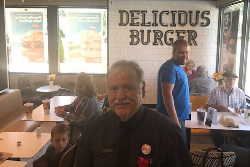 Joe Oliver, store manager at the McDonald's restaurant in Albany, Indiana, poses for a photo at his store. He will be retiring after 52 years of service at the fast-food chain in the Delaware County area. Clayton Max McKnight, Photo Provided