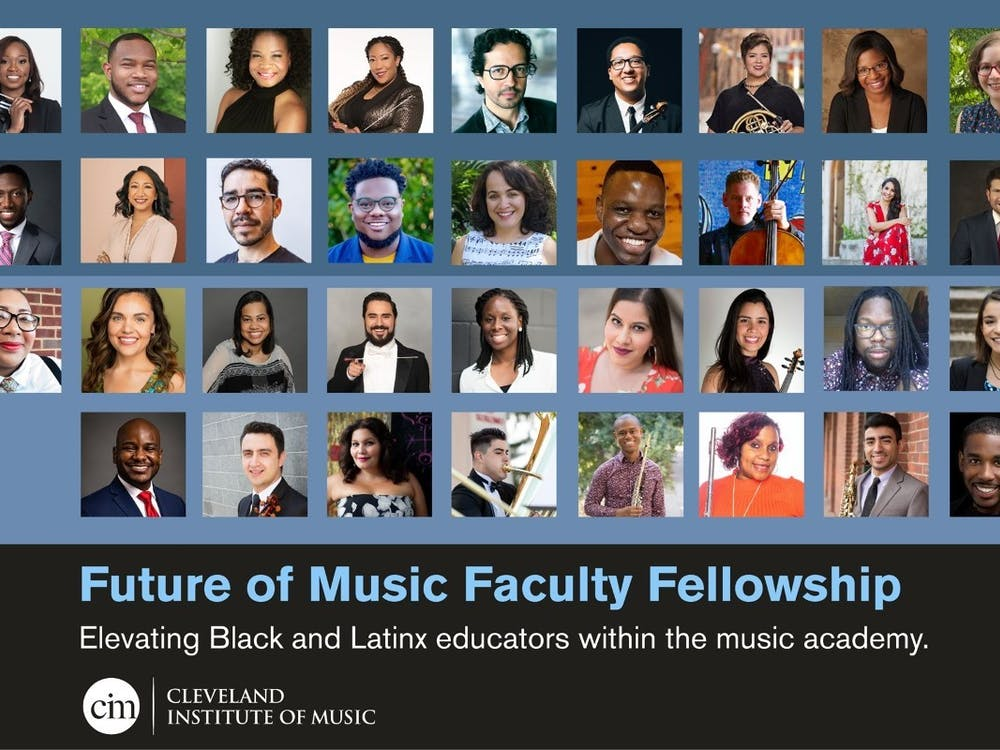 Aaron Paige (bottom left) is shown with other faculty fellows in the Cleveland Institute of Music's Future of Music Faculty Fellowship Program, for which he was one of 35 people selected. The program aims to engage and uplift Black and Latino music educators. Cleveland Institute of Music, Photo Courtesy