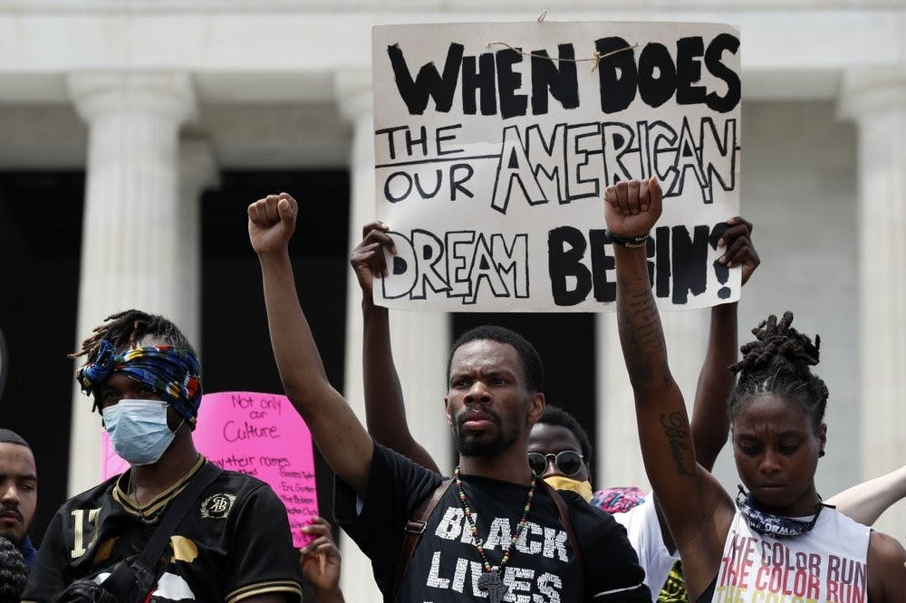 <p>Demonstrators protest at the Lincoln Memorial June 6, 2020, in Washington, over the death of George Floyd, a black man who was in police custody in Minneapolis. Floyd died after being restrained by Minneapolis police officers. <strong>(AP Photo/Alex Brandon, File)</strong></p>