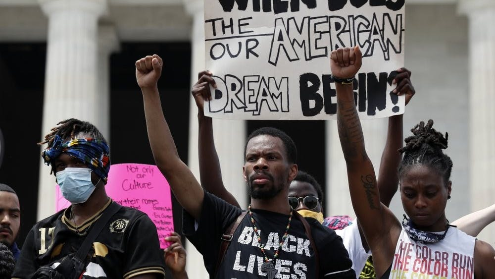 Demonstrators protest at the Lincoln Memorial June 6, 2020, in Washington, over the death of George Floyd, a black man who was in police custody in Minneapolis. Floyd died after being restrained by Minneapolis police officers. (AP Photo/Alex Brandon, File)