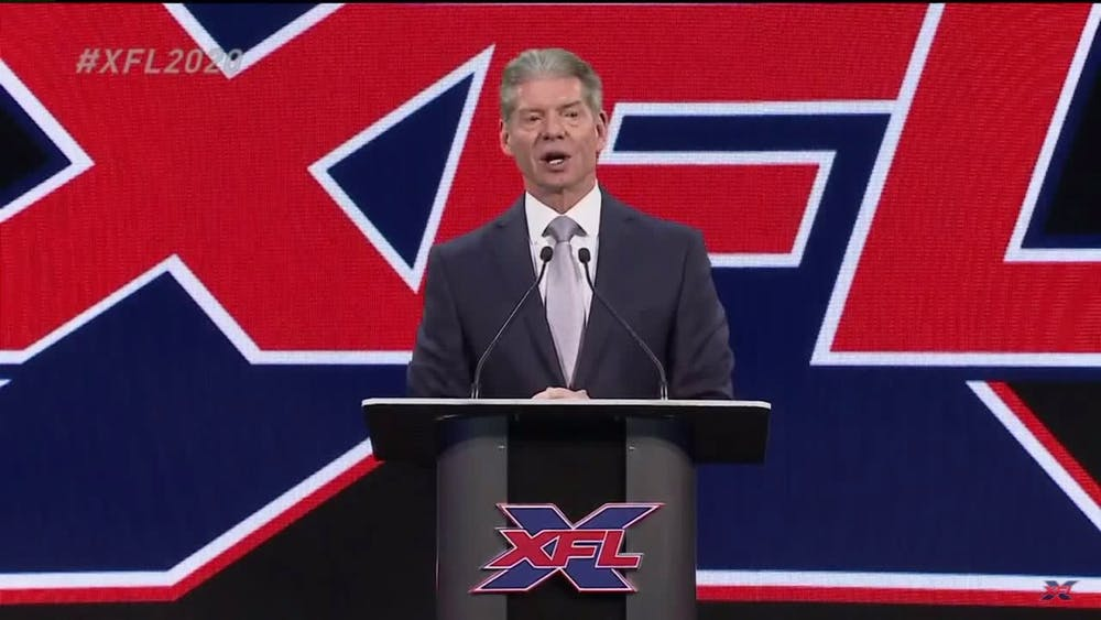 XFL owner Vince McMahon announces the return of the XFL on Jan. 25, 2018. McMahon's first run of the XFL occurred in 2001. (TNS)