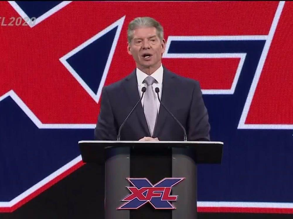 XFL owner Vince McMahon announces the return of the XFL on Jan. 25, 2018. McMahon's first run of the XFL occurred in 2001. (TNS)