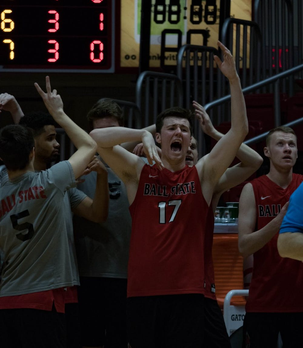 <p>Ryan Dorgan cheers during the third game against Lindenwood after &nbsp;Ball State wins a volley on March 30 at John E. Worthen Arena. &nbsp;Ball State defeated Lindenwood in 3 of the 5 games. <strong>Rebecca Slezak, DN</strong></p>