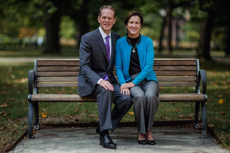 President Mearns and his wife, Jennifer, pose for a portrait in the Quad. Mearns is the 17th president at Ball State. Reagan Allen, DN