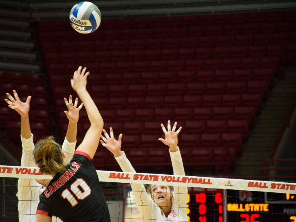 Junior Outside Hitter Ellie Dunn prepares for a kill on  Sept. 1 at John E. Worthen Arena. Dunn ended the night with 14 kills. Chase Akins, DN.