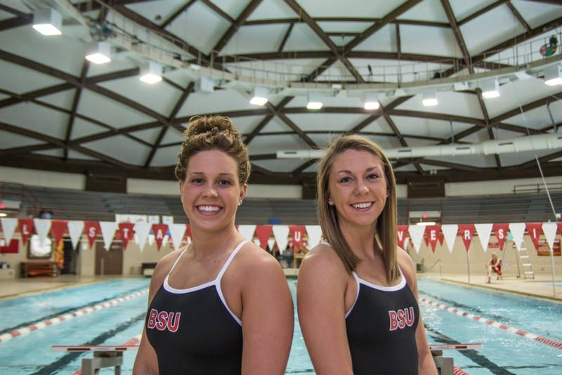 Cousins Anne Vormohr and Sophie Bader are both freshman on the Ball State University women's swimming and diving team. Reagan Allen // DN