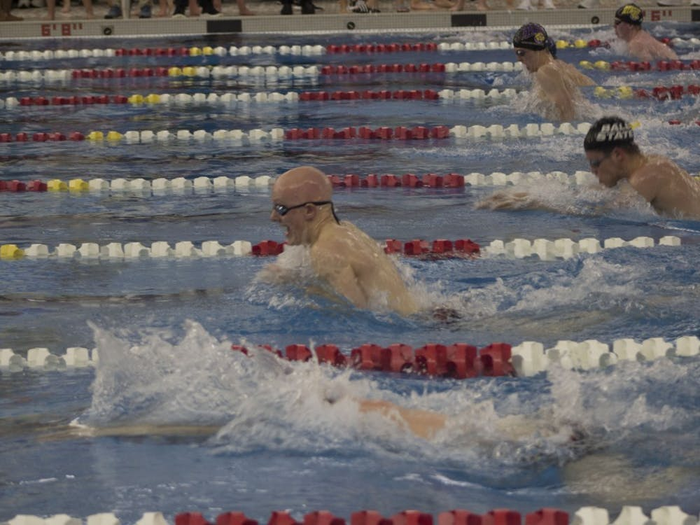 Junior Luke Nondorf (second from bottom) swims in the men's 100 yard breaststroke at the Butler Invitational Jan. 27, 2019 at Fishers High School. Nondorf won this heat and finished ninth overall in the event. Patrick Murphy,DN