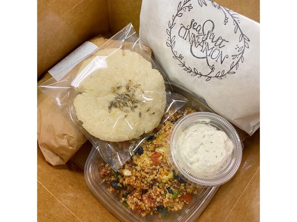 In addition to catering for Ball State events, Sea Salt and Cinnamon also offers Picnic Boxes with customizable menus. For a wedding, Sea Salt and Cinnamon included house-made crackers and ranch, a quinoa salad, a Jackfruit Chick'n Salad and a lemon lavender cookie in its Picnic Box. Amanda Reninger, Photo Provided