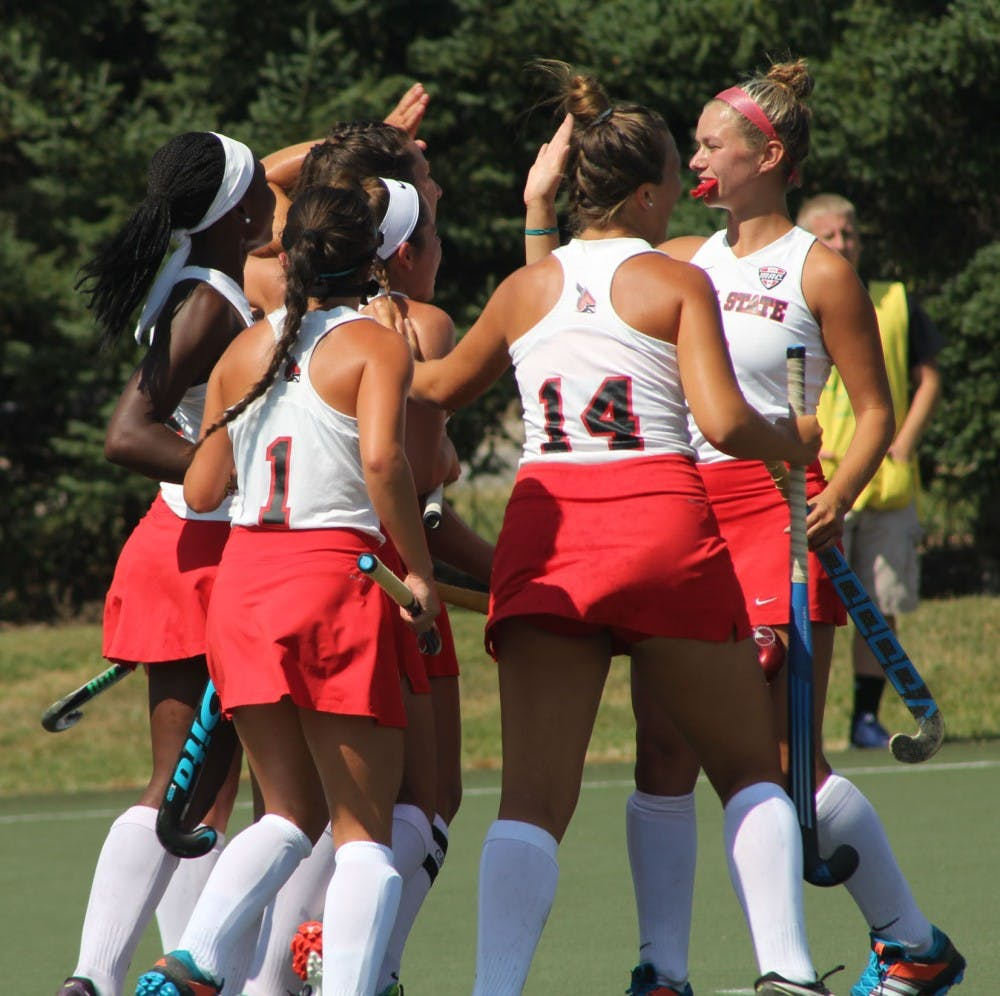 Ball State field hockey players congradulate each other after a goal was scored against Ohio on Aug. 27 at Briner Sports Complex. The Cardinals won 4-1. Patrick Murphy // DN