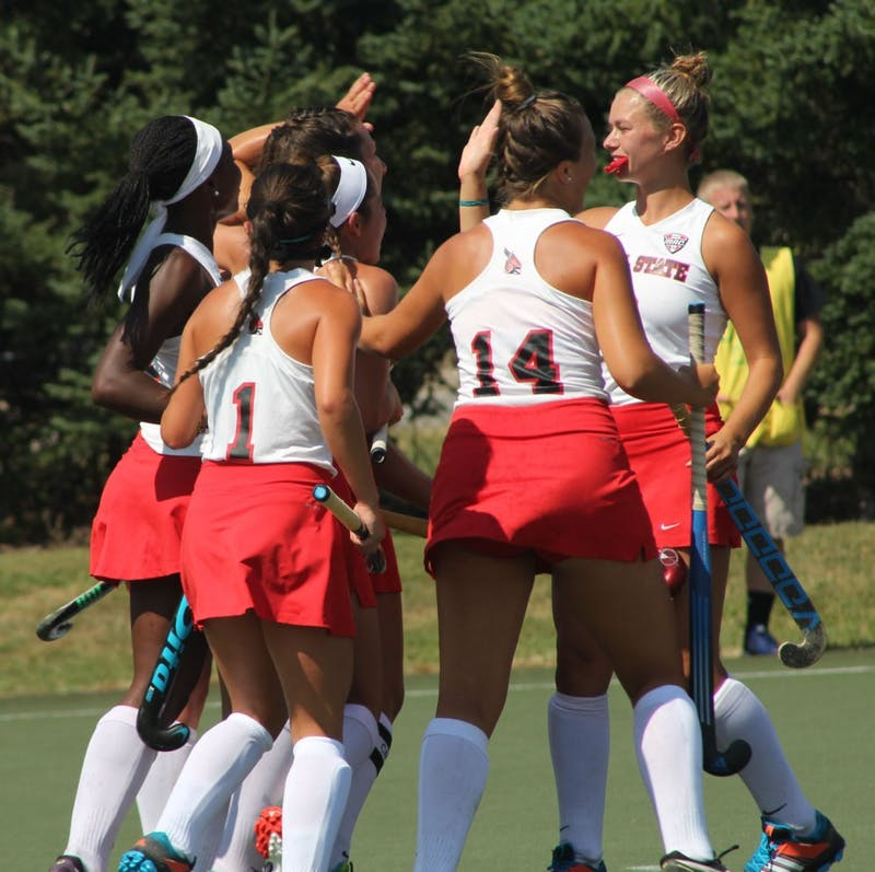 Ball State Field Hockey players congratulate each other after a goal was scored against Ohio Aug. 27 at Briner Sports Complex. The Cardinals won 4-1. Patrick Murphy, DN