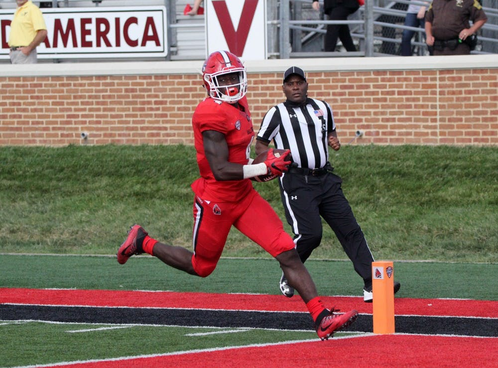 Ball State sophomore running back Malik Dunner scores a 66-yard touchdown with 2:21 left in the third quarter during the Cardinals' game against Tennessee Tech on Sept. 16 at Scheumann Stadium. Dunner rushed for a total of 79 yards. Paige Grider, DN