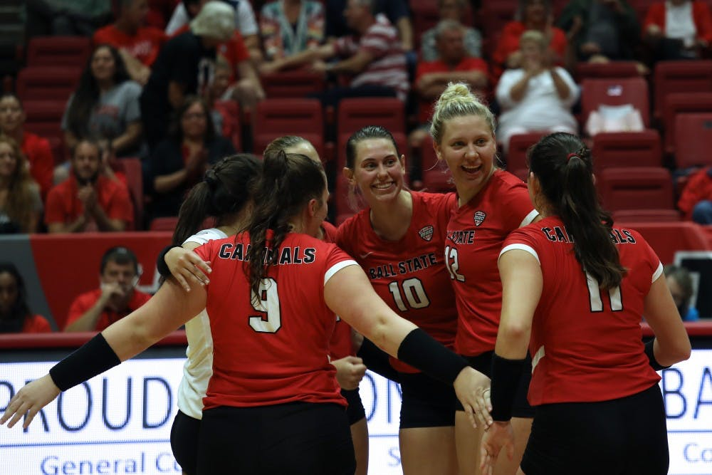 <p>Ball State University Cardinals won the third set 25-16 against North Dakota State University Friday, Sept. 7, 2018, at Worthen Arena. The Cardinals won the match. <strong>Rebecca Slezak,DN</strong></p>