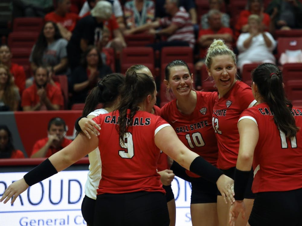 Ball State University Cardinals won the third set 25-16 against North Dakota State University Friday, Sept. 7, 2018, at Worthen Arena. The Cardinals won the match. Rebecca Slezak,DN
