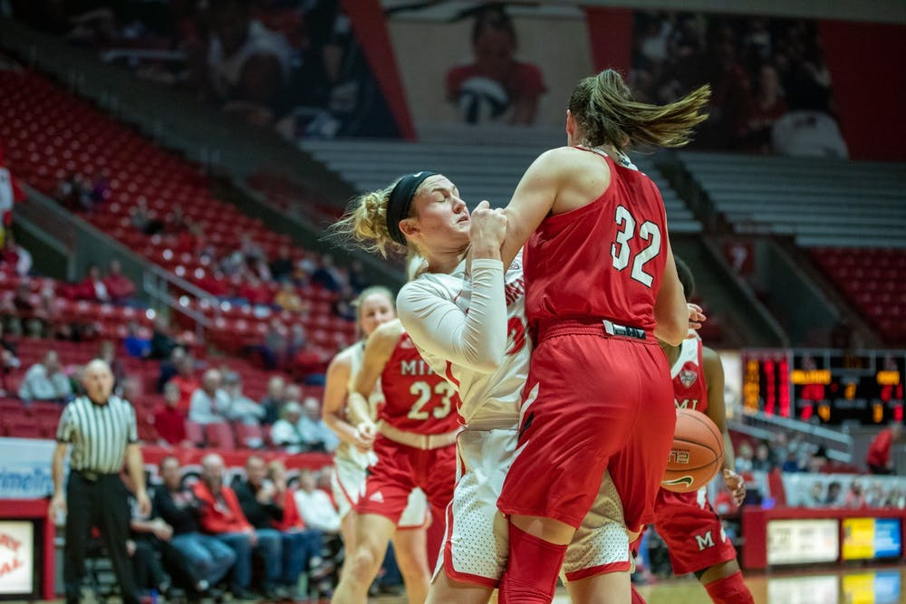 <p>Redshirt freshman Anna Clephane falls down after going for a rebound, Jan. 25, 2020, in John E. Worthen Arena. Clephane played 13 minutes for the Cardinals. <strong>Jacob Musselman, DN</strong></p>