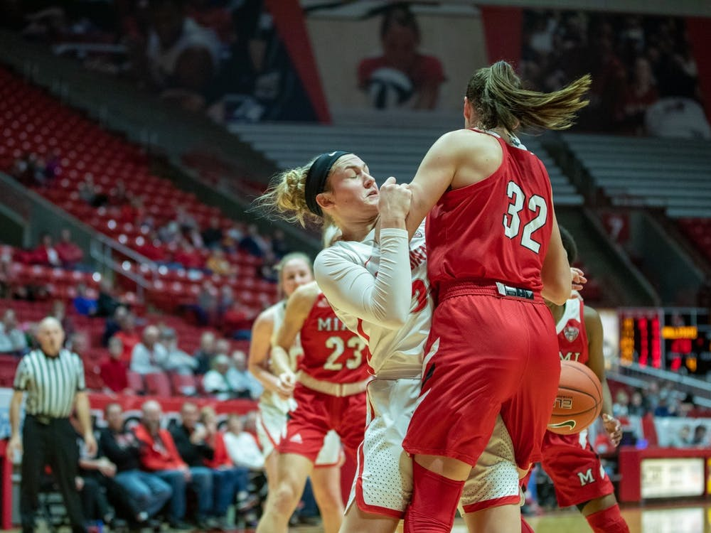 Redshirt freshman Anna Clephane falls down after going for a rebound, Jan. 25, 2020, in John E. Worthen Arena. Clephane played 13 minutes for the Cardinals. Jacob Musselman, DN