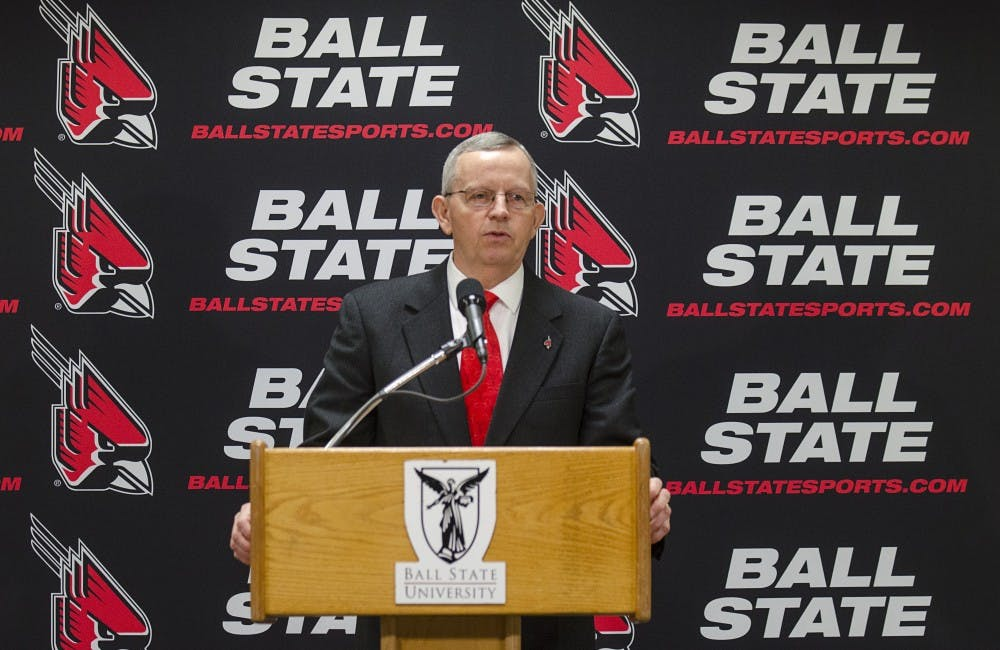<p>Ball State Athletic Director Mark Sandy speaks at his introductory press conference. <em>DN PHOTO BREANNA DAUGHERTY</em></p>
