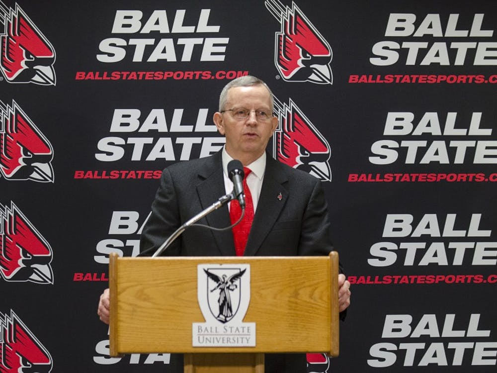 Ball State Athletic Director Mark Sandy speaks at his introductory press conference. DN PHOTO BREANNA DAUGHERTY