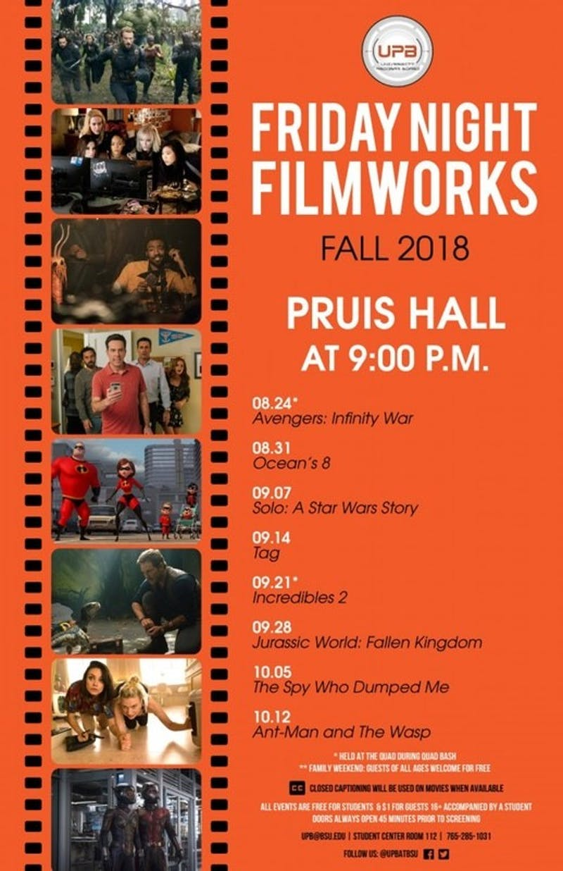 University Program Board released its fall semester Friday Night Filmworks schedule. It has hosted a variety of events to entertain students since 1953. University Program Board, Photo Provided