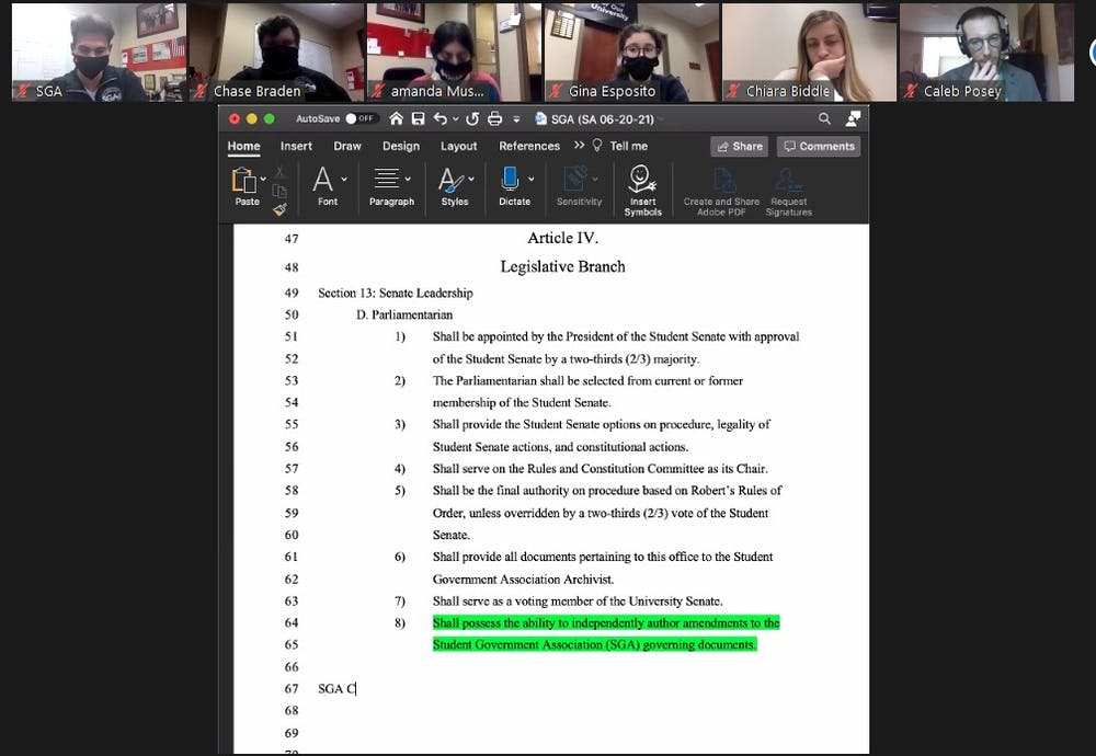<p>Ball State Student Government Association senators look over and debate the amendment regarding the parliamentarian&#x27;s duties at the Nov. 11 Zoom meeting. The amendment would allow the parliamentarian to draft amendments, but failed 26-4, with 11 abstentions. <strong>Maya Wilkins, Screenshot Capture</strong></p>