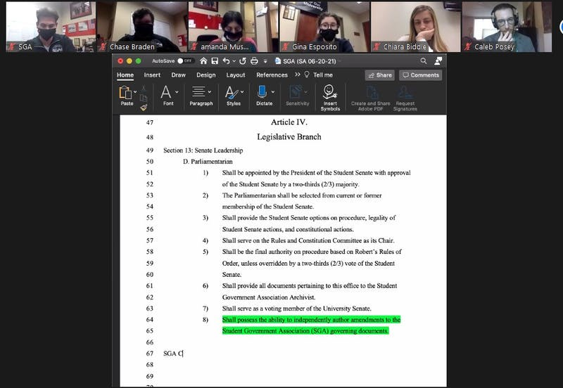 Ball State Student Government Association senators look over and debate the amendment regarding the parliamentarian's duties at the Nov. 11 Zoom meeting. The amendment would allow the parliamentarian to draft amendments, but failed 26-4, with 11 abstentions. Maya Wilkins, Screenshot Capture