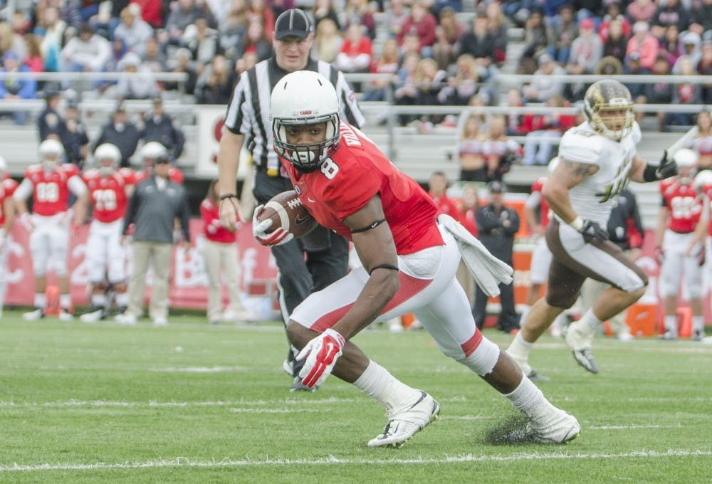 Junior wide receiver Jordan Williams turns to run the ball down the field during the game against Western Michigan on Oct. 11 at Scheumann Stadium. DN PHOTO BREANNA DAUGHERTY