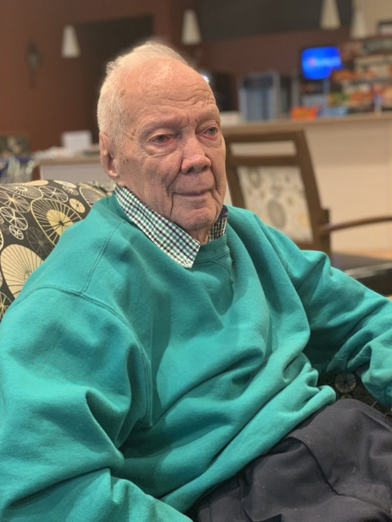 Park Wiseman, a former Ball State chemistry professor, sits in a lounge in Westminister Village Feb. 20, 2019. Wiseman was born in the same year Ball State was founded and taught at the university from 1941 to 1981. Kamryn Tomlinson, DN