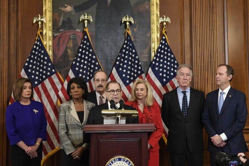 From left House Speaker Nancy Pelosi, Chairwoman of the House Financial Services Committee Maxine Waters, D-Calif., Chairman of the House Foreign Affairs Committee Eliot Engel, D-N.Y., House Judiciary Committee Chairman Jerrold Nadler, D-N.Y., Chairwoman of the House Committee on Oversight and Reform Carolyn Maloney, D-N.Y., House Ways and Means Chairman Richard Neal and Chairman of the House Permanent Select Committee on Intelligence Adam Schiff, D-Calif., unveil articles of impeachment against President Donald Trump, during a news conference on Capitol Hill in Washington, Tuesday, Dec. 10, 2019. (AP Photo/Susan Walsh)