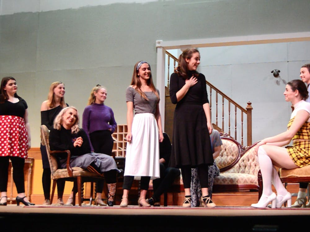 """Students in the """"Stage Door"""" rehearse for their opening show Nov. 9, 2018, in University Theater. The group prepared for two months in order to perfect their characters. Gabi Glass,Photo Provided"""