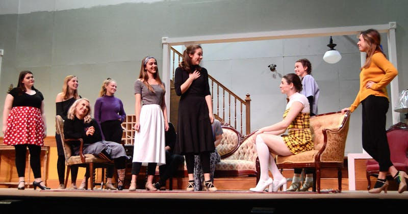 "Students in the ""Stage Door"" rehearse for their opening show Nov. 9, 2018, in University Theater. The group prepared for two months in order to perfect their characters. Gabi Glass,Photo Provided"