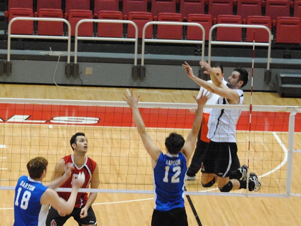 On Feb. 12 the Ball State men's volleyball team defeated Barton University at Worthen Area. Junior outside attacker Mike Scannell goes up for a hit against the Bulldogs. DN PHOTO ALLISON COFFIN