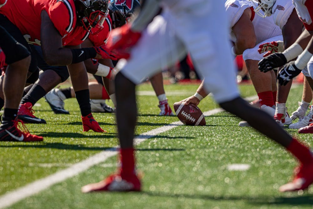 <p>Florida Atlantic's offense gets ready to snap the ball in the third quarter Sept. 14, 2019, at Scheumann Stadium. The Owls went on to defeat the Cardinals, 41-31. <strong>Paul Kihn, DN</strong></p>