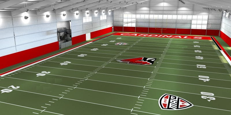 Bernard Hannon, vice president for business affairs and treasurer, said the interior of Ball State's new indoor practice field will probably look like the above image. Construction of the facility might begin in spring 2020. Marc Ransford, Photo Provided