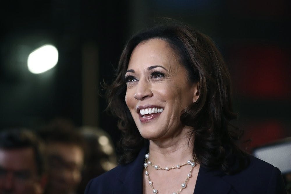 <p>FILE - In this June 27, 2019, file photo, then-Democratic presidential candidate Sen. Kamala Harris, D-Calif., listens to questions after the Democratic primary debate hosted by NBC News at the Adrienne Arsht Center for the Performing Art in Miami. <strong>(AP Photo/Brynn Anderson, File)</strong></p>