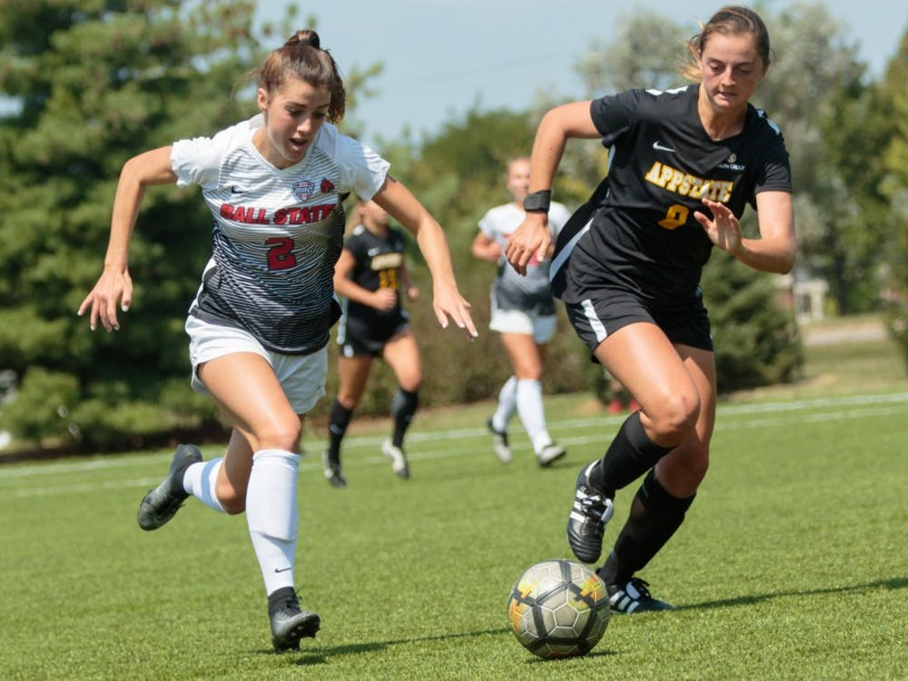 Junior midfielder Lauren Roll dashes for the ball during the game against Appalachian State at the Briner Sports Complex on Aug. 27. They travel to Oxford, Ohio to take on Boston University (2-0) and University of Massachusetts-Lowell (1-1) in the Miami Invitational. Kyle Crawford, DN File