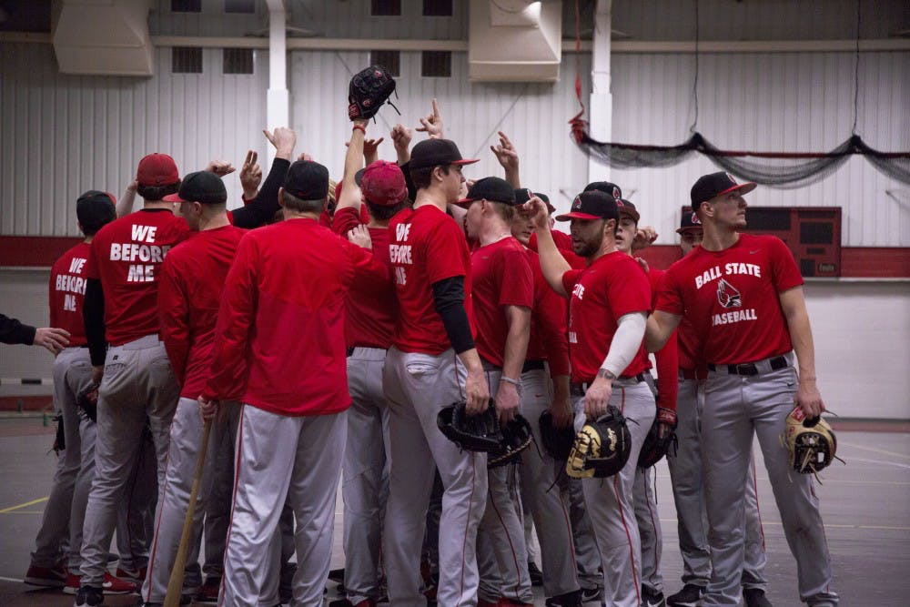 <p>Members of Ball State Baseball break a huddle during practice Jan. 30, 2019, in the Field Sports Building. The Cardinals went 2-5 in their first two weekends of 2019. <strong>Zach Piatt, DN&nbsp;</strong></p>