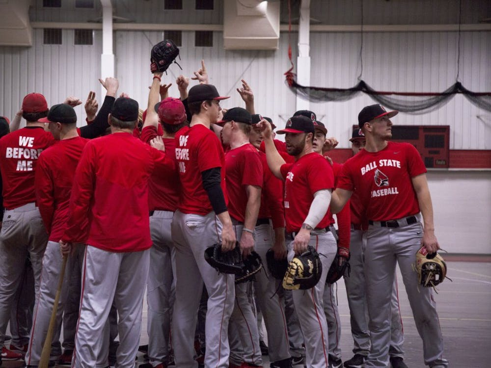 Members of Ball State Baseball break a huddle during practice Jan. 30, 2019, in the Field Sports Building. The Cardinals went 2-5 in their first two weekends of 2019. Zach Piatt, DN