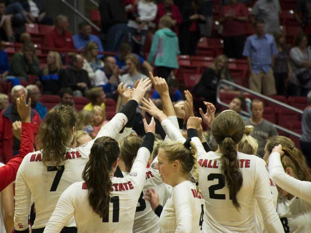 Ball State women's volleyball team has a team huddle after their victory on Sept. 2 at Worthen Arena. The Cardinals defeated Fort Wayne and improved to 5-1 on the season.