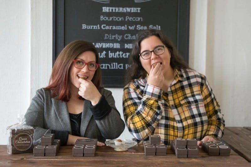 Queer Chocolatier co-owners Cheri Madewell and Morgan Roddy raised more than $10,000 for the business through a GoFundMe page after sharing their financial concerns online. The chocolate store closed its doors in March to dine-in customers in response to the COVID-19 pandemic. Morgan Roddy, Photo Courtesy