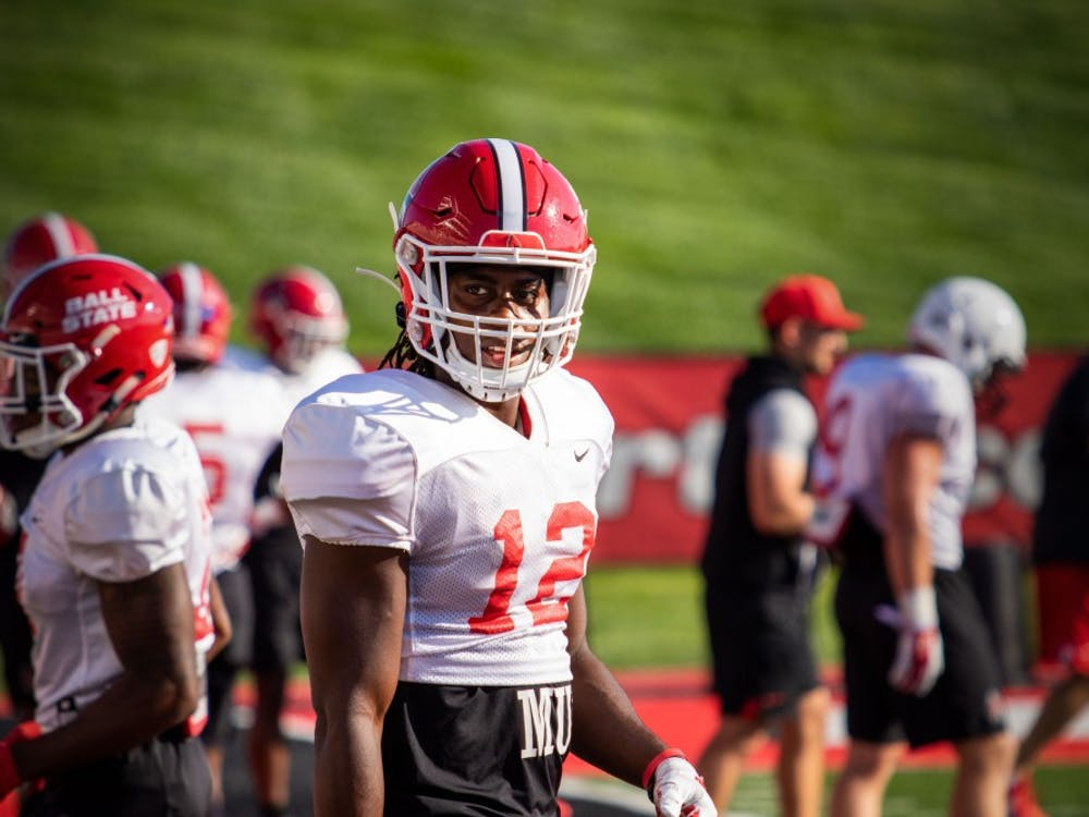 Graduate student cornerback Isaac James during football practice Aug. 23, at Scheumann Stadium. James played for Indiana in 2018 and recorded two tackles and an interception against Ball State. Jacob Musselman, DN