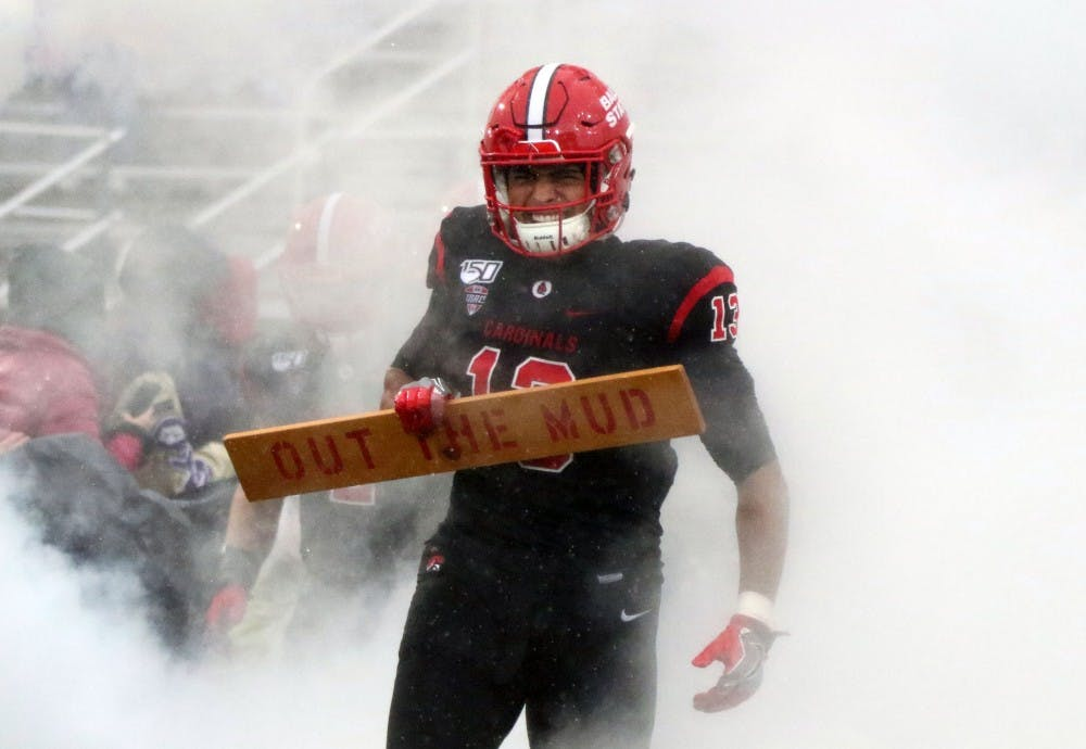 <p>Ball State redshirt sophomore linebacker Jordan Williams takes the field for the Cardinals' game against Ohio Saturday, Oct. 26, 2019, at Scheumann Stadium. Ball State lost, 34-21. <strong>Paige Grider, DN</strong></p>