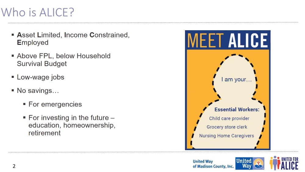 Karen Hemberger presents her ALICE presentation at the annual PathStone community partnership event June 10. Hemberger was this year's keynote speaker and spoke about ALICE employees, the people who need the most help paying for their housing. Maya Wilkins, Screenshot Capture